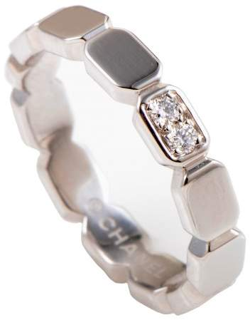 Chanel Première Platinum and Diamond Band Ring Size 5.75