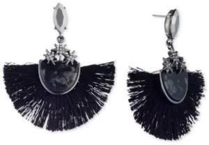 lonna & lilly Hematite-Tone Crystal & Stone Fan Tassel Statement Earrings