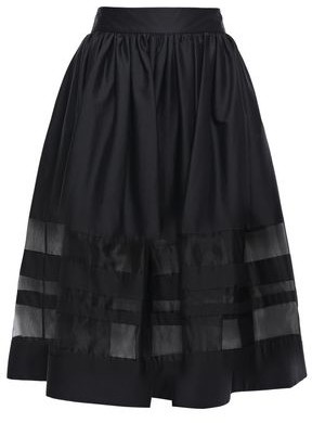 Alice + Olivia Flared Organza-paneled Cotton-blend Skirt