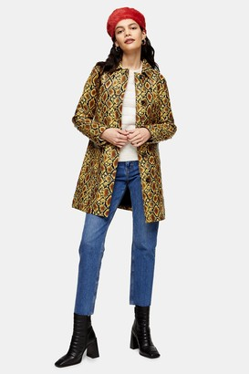 Topshop Womens Yellow Faux Fur Snake Car Coat - Yellow