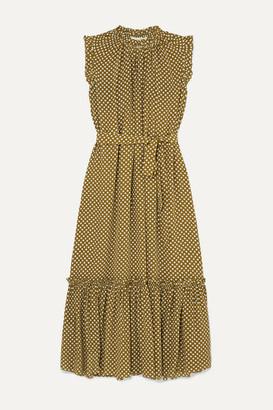 Zimmermann Super Eight Ruffled Polka-dot Silk Crepe De Chine Midi Dress - Army green
