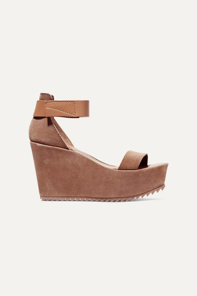 Pedro Garcia Fania Suede And Textured-leather Wedge Sandals - Tan