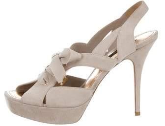 Louis Vuitton Suede Lace-Up Sandals