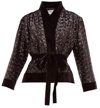 Àcheval Pampa Acheval Pampa - Lucero Sequinned Velvet Wrap Jacket - Womens - Black