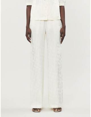 Off-White Jacquard-pattern wide-leg high-rise satin-twill trousers