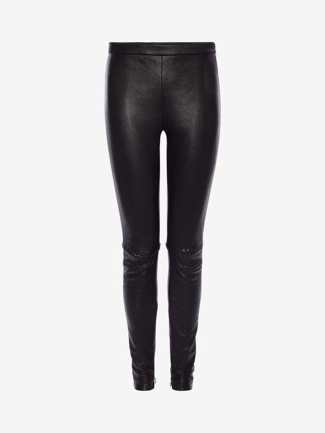 Alexander McQueen Whip Stitched Leather Leggings