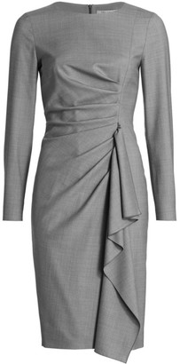 Max Mara Draped Long Sleeve Sheath Dress