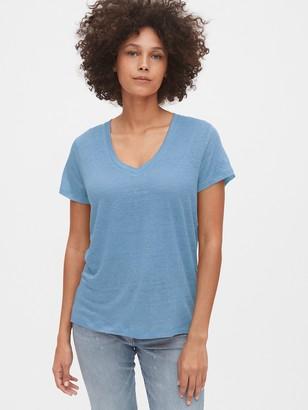 Gap V-Neck T-Shirt in Linen