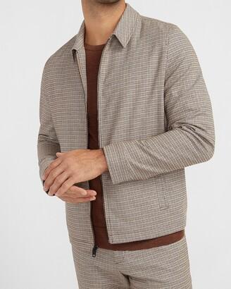 Express Brown Houndstooth Flannel Jacket