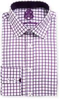 English Laundry Windowpane-Check Textured Dress Shirt, Purple