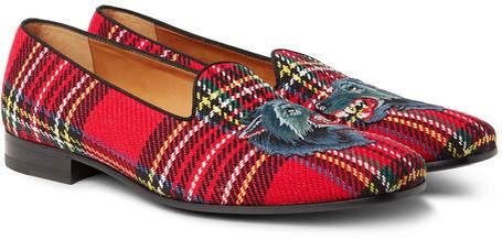 Gucci Gallipoli Appliquéd Tartan Tweed Loafers
