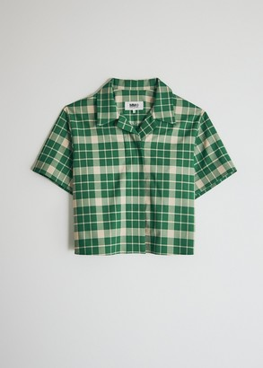 MM6 MAISON MARGIELA Women's Short Sleeve Button Down Top in Green Check, Size 44