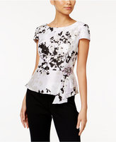Alex Evenings Embellished Printed Peplum Blouse