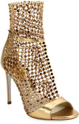 Rene Caovilla Metallic Crystal Mesh Caged Sandals