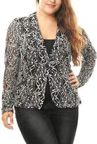 Allegra K Agnes Orinda Women Plus Size Shawl Collar Sheer Floral Lace Blazer