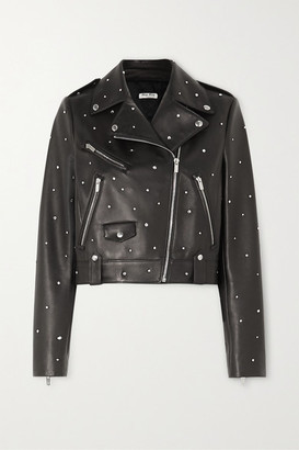 Miu Miu Crystal-embellished Cropped Leather Biker Jacket - Black