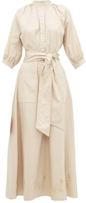 BEIGE Àcheval Pampa Acheval Pampa - Stag-embroidered Mock-collar Canvas Dress - Womens