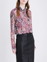 The Kooples Paisley-print semi-sheer chiffon shirt