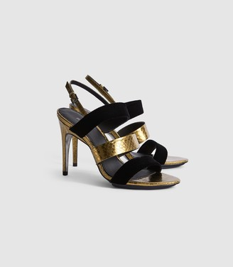 Reiss Serena - Leather And Velvet Strappy Sandals in Gold