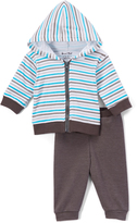 Sweet & Soft Turquoise & Gray Stripe Hoodie & Dark Gray Pants - Infant