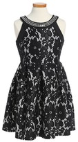 Blush by Us Angels Girl's Embellished Laced Fit & Flare Dress