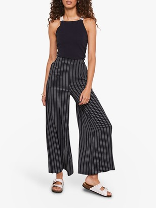 Mint Velvet Stripe Wide Leg Trousers, Navy