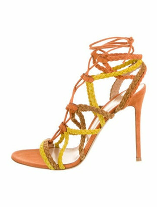 Gianvito Rossi Suede Gladiator Sandals Orange