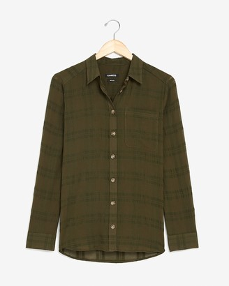 Express Plaid Lightweight One Pocket Boyfriend Shirt