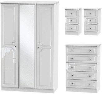 Swift Clarence 4 Piece Part Assembled Package - 3 Door Mirrored Wardrobe, 5 Drawer Chest and 2 Bedside Chests