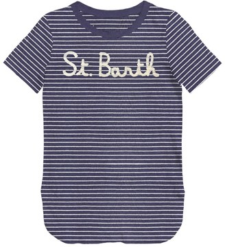 MC2 Saint Barth Denim Striped St Barth Frontal Graphic T-shirt