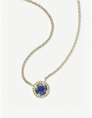 Vashi Halo 0.30ct sapphire and 18k yellow-gold pendant necklace