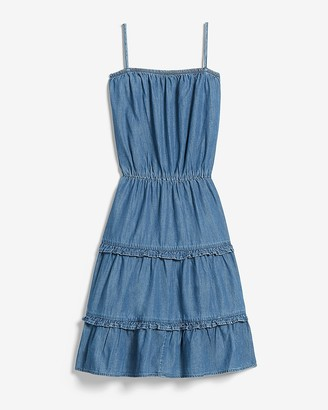 Express Denim Square Neck Tiered Mini Dress
