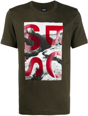 HUGO BOSS Logo Photo Print T-Shirt