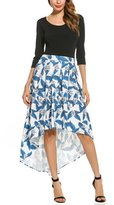 Zeagoo High-Low And Ivory Floral Print Pleated Long Skater Skirt S