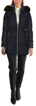 Cole Haan Faux-Fur-Trim Hooded Down Puffer Coat