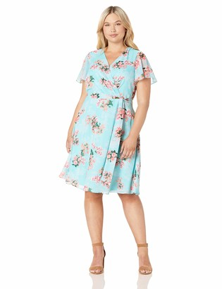 Jessica Howard JessicaHoward Size Womens Butterfly Sleeve Fit and Flare Dress