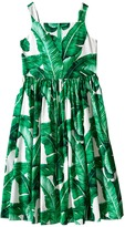 Dolce & Gabbana Botanical Garden Banana Leaf Sleeveless Dress (Big Kids)