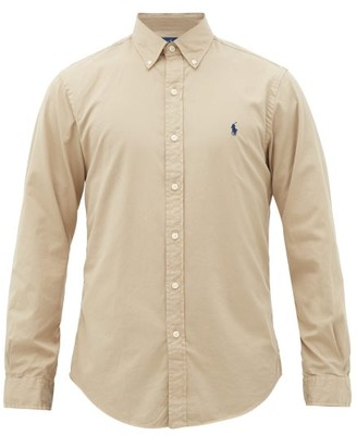 Polo Ralph Lauren Logo-embroidered Featherweight Cotton-twill Shirt - Mens - Brown