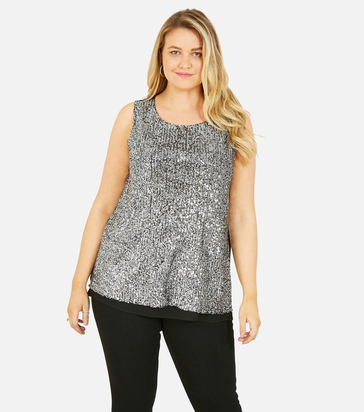 Thumbnail for your product : New Look Mela Curves Sequin Sleeveless Top
