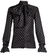 Loewe Lavallière-neck polka-dot print satin blouse