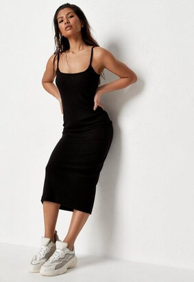 Missguided Black Ribbed Strappy Bodycon Midi Dress