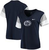 Nike Women's Navy/Gray Penn State Nittany Lions Breathe Team Sleeve Performance V-Neck T-Shirt