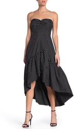 Eliza J Polka Dot Strapless High/Low Cocktail Dress