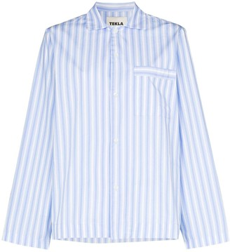 Tekla Striped Organic Cotton Pyjama Shirt