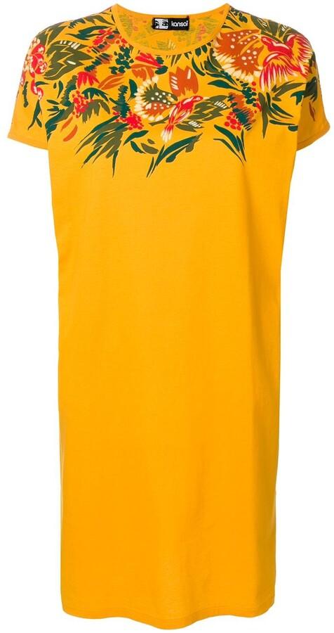 Kansai Yamamoto Pre-Owned 1990s floral-print detail T-shirt dress