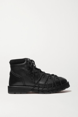 MONCLER GENIUS 6 Noir Kei Ninomiya Suede-trimmed Leather Ankle Boots - Black