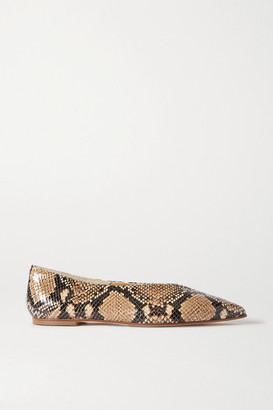 AEYDĒ Moa Snake-effect Leather Point-toe Flats - Snake print