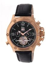 Reign Goliath Collection Men's Automatic Leather and Stainless Steel Watch