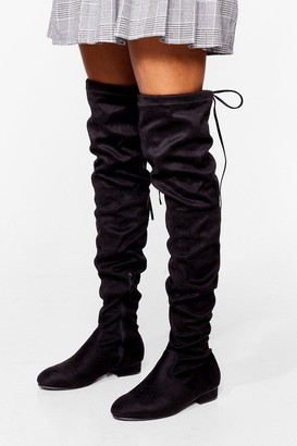 Nasty Gal Womens Give It All You've Got Over-the-Knee Wide Fit Boots - Black - 3