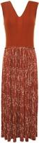 Nina Ricci Printed Crepe And Ribbed Wool And Silk-blend Midi Dress
